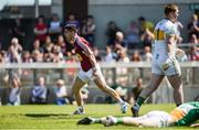 17 June 2017; John Egan of Westmeath celebrates scoring his side's first goal during the Leinster GAA Football Senior Championship Quarter-Final Replay match between Westmeath and Offaly at TEG Cusack Park in Mullingar, Co Westmeath. Photo by Piaras Ó Mídheach/Sportsfile