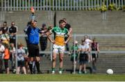17 June 2017; Cian Donoghue of Offaly is shown a red card for a second yellow card offence by referee Rory Hickey during the Leinster GAA Football Senior Championship Quarter-Final Replay match between Westmeath and Offaly at TEG Cusack Park in Mullingar, Co Westmeath. Photo by Piaras Ó Mídheach/Sportsfile