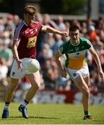17 June 2017; John Heslin of Westmeath scores his side's second goal as James Lalor of Offaly looks on during the Leinster GAA Football Senior Championship Quarter-Final Replay match between Westmeath and Offaly at TEG Cusack Park in Mullingar, Co Westmeath. Photo by Piaras Ó Mídheach/Sportsfile