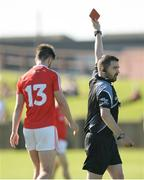 17 June 2017; Referee Noel Mooney shows a red card to Patrick Reilly of Louth during the GAA Football All-Ireland Senior Championship Round 1A match between Louth and Longford at the Gaelic Grounds in Drogheda, Co Louth. Photo by Oliver McVeigh/Sportsfile