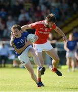 17 June 2017; Daniel Mimnagh of Longford in action against Patrick Reilly of Louth during the GAA Football All-Ireland Senior Championship Round 1A match between Louth and Longford at the Gaelic Grounds in Drogheda, Co Louth. Photo by Oliver McVeigh/Sportsfile