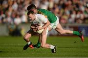 17 June 2017; Cathal McNally of Kildare in action against Donal Keogan of Meath during the Leinster GAA Football Senior Championship Semi-Final match between Meath and Kildare at Bord na Móna O'Connor Park in Tullamore, Co Offaly. Photo by Piaras Ó Mídheach/Sportsfile