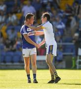 17 June 2017; Laois corner back Darren Strong, left, shakes hands with Brendan Kennedy of Wicklow after the GAA Football All-Ireland Senior Championship Round 1A match between Wicklow and Laois at Joule Park in Aughrim, Co Wicklow. Photo by Ray McManus/Sportsfile