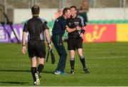 17 June 2017; Meath manager Andy McEntee with referee Joe McQuillan, right, at half-time during the Leinster GAA Football Senior Championship Semi-Final match between Meath and Kildare at Bord na Móna O'Connor Park in Tullamore, Co Offaly. Photo by Piaras Ó Mídheach/Sportsfile
