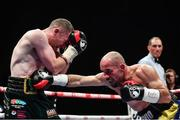 17 June 2017; Paddy Barnes, left, in action against Silvio Olteanu during their WBO European flyweight title bout at the Battle of Belfast Fight Night at the Waterfront Hall in Belfast. Photo by Ramsey Cardy/Sportsfile