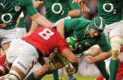 5 February 2012; Sean O'Brien, Ireland, is tackled by Toby Faletau, Wales. RBS Six Nations Rugby Championship, Ireland v Wales, Aviva Stadium, Lansdowne Road, Dublin. Picture credit: Stephen McCarthy / SPORTSFILE