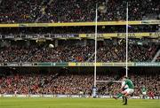5 February 2012; A general view of the Aviva Stadium as Jonathan Sexton, Ireland, takes a conversion kick. RBS Six Nations Rugby Championship, Ireland v Wales, Aviva Stadium, Lansdowne Road, Dublin. Picture credit: Stephen McCarthy / SPORTSFILE