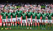 17 June 2017; Ireland players, from left, Rhys Ruddock, Simon Zebo, Jack Conan, Devin Toner, John Ryan, Quinn Roux, Dan Leavy, Niall Scannell, Rory Scannell and Andrew Conway stand for the national anthem prior to the international rugby match between Japan and Ireland at the Shizuoka Epoca Stadium in Fukuroi, Shizuoka Prefecture, Japan. Photo by Brendan Moran/Sportsfile