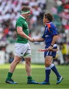 17 June 2017; Dan Leavy of Ireland shakes hands with assistant referee JP Doyle after the international rugby match between Japan and Ireland at the Shizuoka Epoca Stadium in Fukuroi, Shizuoka Prefecture, Japan. Photo by Brendan Moran/Sportsfile