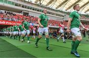 17 June 2017; The Ireland team, led by Dan Leavy, right, and Devin Toner, walk onto the pitch prior to the international rugby match between Japan and Ireland at the Shizuoka Epoca Stadium in Fukuroi, Shizuoka Prefecture, Japan. Photo by Brendan Moran/Sportsfile