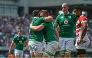 17 June 2017; Dan Leavy of Ireland, 2nd from left, is congratulated by team-mate Cian Healy after scoring their side's second try during the international rugby match between Japan and Ireland at the Shizuoka Epoca Stadium in Fukuroi, Shizuoka Prefecture, Japan. Photo by Brendan Moran/Sportsfile