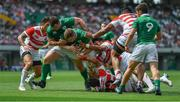 17 June 2017; Dan Leavy of Ireland, with the lelp of team-mate Cian Healy, scores their side's second try during the international rugby match between Japan and Ireland at the Shizuoka Epoca Stadium in Fukuroi, Shizuoka Prefecture, Japan. Photo by Brendan Moran/Sportsfile