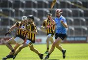 18 June 2017; Kevin Kirwan of Dublin, right, in action against Oran Brophy, left, and Darragh O'Keeffe, centre, of Kilkenny during the Leinster U17 Hurling Championship Final match between Dublin and Kilkenny at O'Moore Park in Portlaoise, Co Laoise Photo by Seb Daly/Sportsfile