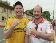 18 June 2017; Donegal supporter John Francis Bradley and Tyrone supporter Conor Molloy before the Ulster GAA Football Senior Championship Semi-Final match between Tyrone and Donegal at St Tiernach's Park in Clones, Co. Monaghan. Photo by Oliver McVeigh/Sportsfile