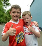 18 June 2017; Thomas and Patrick Slater from Dungannon supporting Tyrone in the Ulster GAA Football Senior Championship Semi-Final match between Tyrone and Donegal at St Tiernach's Park in Clones, Co. Monaghan. Photo by Oliver McVeigh/Sportsfile