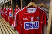 18 June 2017; A general view of the jersey of Conor Lehane of Cork in the dressing room before the Munster GAA Hurling Senior Championship Semi-Final match between Waterford and Cork at Semple Stadium in Thurles, Co Tipperary.  Photo by Piaras Ó Mídheach/Sportsfile