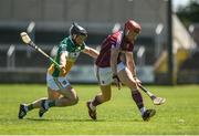 18 June 2017; Conor Whelan of Galway in action against Seán Ryan of Offaly during the Leinster GAA Hurling Senior Championship Semi-Final match between Galway and Offaly at O'Moore Park in Portlaoise, Co Laois. Photo by Seb Daly/Sportsfile
