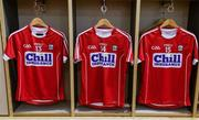 18 June 2017; A general view of the jerseys of, from left, Alan Cadogan, Séamus Harnedy and Patrick Horgan of Cork in the dressing room before the Munster GAA Hurling Senior Championship Semi-Final match between Waterford and Cork at Semple Stadium in Thurles, Co Tipperary.  Photo by Piaras Ó Mídheach/Sportsfile