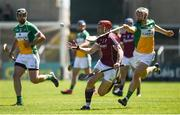 18 June 2017; Conor Whelan of Galway in action against Emmett Nolan of Offaly during the Leinster GAA Hurling Senior Championship Semi-Final match between Galway and Offaly at O'Moore Park in Portlaoise, Co Laois. Photo by Seb Daly/Sportsfile