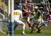 18 June 2017; Conor Whelan of Galway has a shot on goal under pressure from Shane Kinsella, behind and Dermot Shortt of Offaly, right, during the Leinster GAA Hurling Senior Championship Semi-Final match between Galway and Offaly at O'Moore Park in Portlaoise, Co Laois. Photo by Seb Daly/Sportsfile