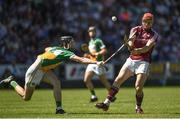 18 June 2017; Conor Whelan of Galway in action against Ben Conneely of Offaly during the Leinster GAA Hurling Senior Championship Semi-Final match between Galway and Offaly at O'Moore Park in Portlaoise, Co Laois. Photo by Seb Daly/Sportsfile