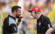18 June 2017; Referee David Gough along with Tyrone manager Mickey Harte before the Ulster GAA Football Senior Championship Semi-Final match between Tyrone and Donegal at St Tiernach's Park in Clones, Co. Monaghan. Photo by Oliver McVeigh/Sportsfile