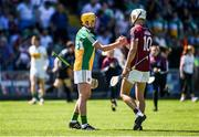 18 June 2017; Pat Camon of Offaly and Jason Flynn of Galway shake hands following the Leinster GAA Hurling Senior Championship Semi-Final match between Galway and Offaly at O'Moore Park in Portlaoise, Co Laois. Photo by Seb Daly/Sportsfile