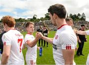 18 June 2017; Mark Bradley and Matthew Donnelly of Tyrone celebrate after the game the Ulster GAA Football Senior Championship Semi-Final match between Tyrone and Donegal at St Tiernach's Park in Clones, Co. Monaghan. Photo by Oliver McVeigh/Sportsfile