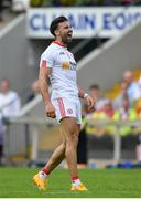 18 June 2017; Tiernan McCann of Tyrone celebrates after scoring a point during the Ulster GAA Football Senior Championship Semi-Final match between Tyrone and Donegal at St Tiernach's Park in Clones, Co. Monaghan. Photo by Ramsey Cardy/Sportsfile