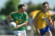 18 June 2017; James Rooney of Leitrim in action against Brian Stack of Roscommon during the Connacht GAA Football Senior Championship Semi-Final match between Roscommon and Leitrim at Dr Hyde Park in Roscommon. Photo by David Maher/Sportsfile