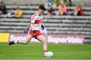 18 June 2017; Conor McCluskey of Derry shoots to score his side's first goal of the game during the Ulster Minor Football Championship Semi-Final match between Derry and Antrim at St Tiernach's Park in Clones, Co. Monaghan. Photo by Ramsey Cardy/Sportsfile