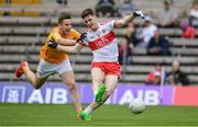 18 June 2017; Padraig McGrogan of Derry in action against Joe Maybin of Antrim during the Ulster Minor Football Championship Semi-Final match between Derry and Antrim at St Tiernach's Park in Clones, Co. Monaghan. Photo by Ramsey Cardy/Sportsfile