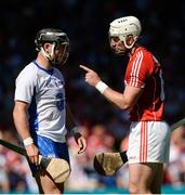 18 June 2017; Patrick Horgan of Cork and Noel Connors of Waterford exchange words during the Munster GAA Hurling Senior Championship Semi-Final match between Waterford and Cork at Semple Stadium in Thurles, Co Tipperary.  Photo by Piaras Ó Mídheach/Sportsfile