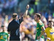 18 June 2017; Referee Anthony Nolan shows Michael McWeeney of Leitrim the black card during the Connacht GAA Football Senior Championship Semi-Final match between Roscommon and Leitrim at Dr Hyde Park in Roscommon. Photo by David Maher/Sportsfile