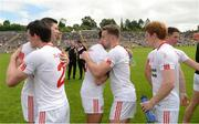 18 June 2017; Sean Cavanagh, Aidan McCrory, Tiernan McCann, Niall Sludden and Peter Harte of Tyrone celebrate after the Ulster GAA Football Senior Championship Semi-Final match between Tyrone and Donegal at St Tiernach's Park in Clones, Co. Monaghan. Photo by Oliver McVeigh/Sportsfile