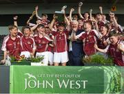 18 June 2017; Charlie Nolan captain of Dicksboro, Co. Kilkenny lifts the trophy after the John West Féile na nGael national competition which took place this weekend across Carlow, Kilkenny and Waterford. This is the second year that the Féile na nGael and Féile Peile na nÓg have been sponsored by John West, one of the world's leading suppliers of fish. The competition gives up-and-coming GAA superstars the chance to participate and play in their respective Féile tournament, at a level which suits their age, skills and strengths. Photo by Matt Browne/Sportsfile