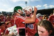 18 June 2017; Alan Cadogan, left, and Brian Lawton of Cork celebrate with supporters after the Munster GAA Hurling Senior Championship Semi-Final match between Waterford and Cork at Semple Stadium in Thurles, Co Tipperary.  Photo by Ray McManus/Sportsfile