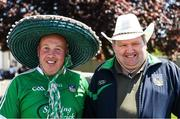 18 June 2017; Limerick supporters Pat Carroll, left, from Croom and Sean McKenna, from Caherconlish, on their way to the Munster GAA Under 25 Reserve Hurling Competition Final match between Limerick and Waterford at Semple Stadium in Thurles, Co. Tipperary. Photo by Ray McManus/Sportsfile