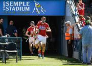 18 June 2017; The Cork captain Stephen McDonnell leads out the cork players before the Munster GAA Hurling Senior Championship Semi-Final match between Waterford and Cork at Semple Stadium in Thurles, Co Tipperary.  Photo by Ray McManus/Sportsfile