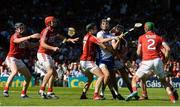 18 June 2017; Maurice Shanahan of Waterford is tackled by Mark Coleman, left, and Mark Ellis of Cork during the Munster GAA Hurling Senior Championship Semi-Final match between Waterford and Cork at Semple Stadium in Thurles, Co Tipperary.  Photo by Piaras Ó Mídheach/Sportsfile