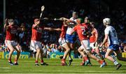 18 June 2017; Maurice Shanahan of Waterford is tackled by Mark Coleman, left, Stephen McDonnell, 2, and Mark Ellis of Cork during the Munster GAA Hurling Senior Championship Semi-Final match between Waterford and Cork at Semple Stadium in Thurles, Co Tipperary.  Photo by Piaras Ó Mídheach/Sportsfile