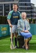 19 June 2017; As a long-standing sponsor of the GAA Hurling All-Ireland Senior Championship, Centra today launched #WeAreHurling, which celebrates the passion displayed by all of those in Ireland's collective hurling community. #WeAreHurling reinforces Centra's commitment to local communities across Ireland by shining a light on the many people who devote their lives to the game – making our national sport a pillar of Irish pride. Pictured today in attendance are Clare hurler Padraic Collins, with his grandmother Kate Mary Cremin, during the Centra Hurling Media Launch at Smithfield Square & The Lighthouse Cinema, in Dublin 7. Photo by Seb Daly/Sportsfile