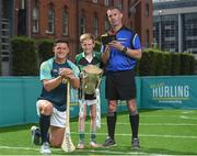 19 June 2017; As a long-standing sponsor of the GAA Hurling All-Ireland Senior Championship, Centra today launched #WeAreHurling, which celebrates the passion displayed by all of those in Ireland's collective hurling community. #WeAreHurling reinforces Centra's commitment to local communities across Ireland by shining a light on the many people who devote their lives to the game – making our national sport a pillar of Irish pride. Pictured today in attendance is Wexford hurler Lee Chin, left, young aspiring hurler Tadgh Rowe, age 10, from Kilmore, Co. Wexford, and referee James Owens, during the Centra Hurling Media Launch at Smithfield Square & The Lighthouse Cinema, in Dublin 7. Photo by Seb Daly/Sportsfile
