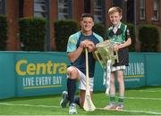 19 June 2017; As a long-standing sponsor of the GAA Hurling All-Ireland Senior Championship, Centra today launched #WeAreHurling, which celebrates the passion displayed by all of those in Ireland's collective hurling community. #WeAreHurling reinforces Centra's commitment to local communities across Ireland by shining a light on the many people who devote their lives to the game – making our national sport a pillar of Irish pride. Pictured today in attendance is Wexford hurler Lee Chin, left, and young aspiring hurler Tadgh Rowe, age 10, from Kilmore, Co. Wexford, during the Centra Hurling Media Launch at Smithfield Square & The Lighthouse Cinema, in Dublin 7. Photo by Seb Daly/Sportsfile
