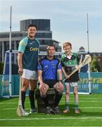 19 June 2017; As a long-standing sponsor of the GAA Hurling All-Ireland Senior Championship, Centra today launched #WeAreHurling, which celebrates the passion displayed by all of those in Ireland's collective hurling community. #WeAreHurling reinforces Centra's commitment to local communities across Ireland by shining a light on the many people who devote their lives to the game – making our national sport a pillar of Irish pride. Pictured today in attendance is Wexford hurler Lee Chin, left, referee James Ownes, from Wexford, centre, and young aspiring hurler Tadgh Rowe, age 10, from Kilmore, Co. Wexford, during the Centra Hurling Media Launch at Smithfield Square & The Lighthouse Cinema, in Dublin 7. Photo by Seb Daly/Sportsfile