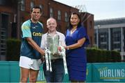 19 June 2017; As a long-standing sponsor of the GAA Hurling All-Ireland Senior Championship, Centra today launched #WeAreHurling, which celebrates the passion displayed by all of those in Ireland's collective hurling community. #WeAreHurling reinforces Centra's commitment to local communities across Ireland by shining a light on the many people who devote their lives to the game – making our national sport a pillar of Irish pride. Pictured today in attendance are former Cork hurler and All-Ireland winner Seán Óg O hAilpín, left, and his mother Emelie Ó hAilpín, right, and Centra retailer Ray Lee, from Charleville, Co. Cork, during the Centra Hurling Media Launch at Smithfield Square & The Lighthouse Cinema, in Dublin 7. Photo by Seb Daly/Sportsfile