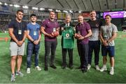 19 June 2017; Ireland captain Rhys Ruddock and head coach Joe Schmidt make a presentation to Shigeyuki Watanabe, Director, Japan Americal Football Association, in the company of Ireland players, from left, Tiernan O'Halloran, Paddy Jackson, Dan Leavy and Luke McGrath, at half-time in the Pearl Bowl, at the American Football East Japan Shakaijin Championship Final game between the IBM BigBlue and the OBIC Seagulls in the Tokyo Dome in Tokyo, Japan. Photo by Brendan Moran/Sportsfile