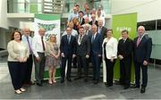 19 June 2017; In attendance at the New FAI/Offaly County Council Development Officer Announcement, are Eddie Fitzpatrick, Chairman Offaly County Council, centre, with Republic of Ireland manager Martin O'Neill, left, and FAI Chief Executive John Delaney, right, and Carol Nolan TD, left, and Marcella Corcoran Kennedy TD, right, with Offaly County Councillors. The Football Association of Ireland is delighted to announce a three-year-partnership with Offaly County Council for a co-funded Football Development Officer. The announcement in Tullamore this afternoon means that the Football Association of Ireland now has at least one Football Development Officer in every county in the Republic of Ireland.  Áras an Chontae, Kilcruttin, Tullamore, Co Offaly. Photo by Piaras Ó Mídheach/Sportsfile *