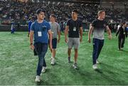 19 June 2017; Ireland players, from left, Paddy Jackson, Luke McGrath, Tiernan O'Halloran, and Dan Leavy during half-time in the Pearl Bowl, at the American Football East Japan Shakaijin Championship Final game between the IBM BigBlue and the OBIC Seagulls, in the Tokyo Dome in Tokyo, Japan. Photo by Brendan Moran/Sportsfile