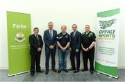 19 June 2017; In attendance at the New FAI/Offaly County Council Development Officer Announcement, are from left, Donal Conway, Vice-President, FAI, FAI Chief Executive John Delaney, Chris Nestor, Chairman, Midlands Schoolboy League, Republic of Ireland manager Martin O'Neill, and Derek Collins, Secretary, Midlands Schoolboy League. The Football Association of Ireland is delighted to announce a three-year-partnership with Offaly County Council for a co-funded Football Development Officer. The announcement in Tullamore this afternoon means that the Football Association of Ireland now has at least one Football Development Officer in every county in the Republic of Ireland. Áras an Chontae, Kilcruttin, Tullamore, Co Offaly. Photo by Piaras Ó Mídheach/Sportsfile *